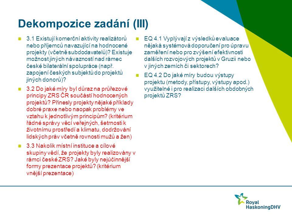 Dekompozice zadání (III) 3.1 Existují komerční aktivity realizátorů nebo příjemců navazující na hodnocené projekty (včetně subdodavatelů).