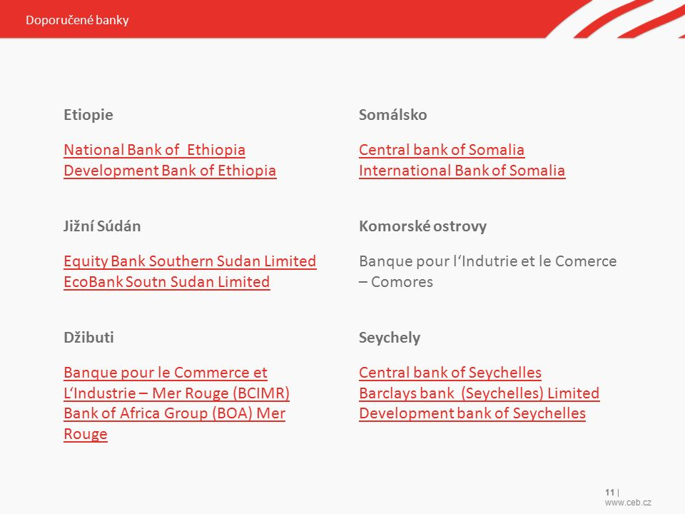 11 | www.ceb.cz Etiopie National Bank of Ethiopia Development Bank of Ethiopia Jižní Súdán Equity Bank Southern Sudan Limited EcoBank Soutn Sudan Limited Džibuti Banque pour le Commerce et L'Industrie – Mer Rouge (BCIMR) Bank of Africa Group (BOA) Mer Rouge Somálsko Central bank of Somalia International Bank of Somalia Komorské ostrovy Banque pour l'Indutrie et le Comerce – Comores Seychely Central bank of Seychelles Barclays bank (Seychelles) Limited Development bank of Seychelles Doporučené banky