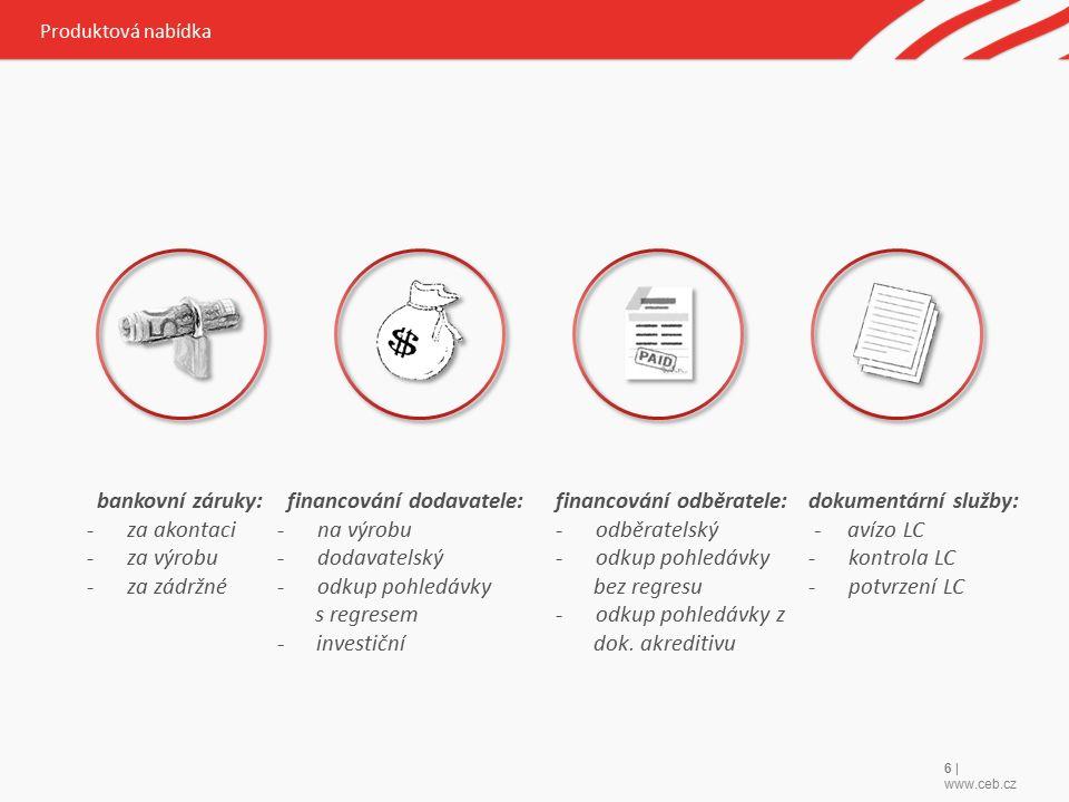 6 | www.ceb.cz Produktová nabídka bankovní záruky: -za akontaci -za výrobu -za zádržné financování dodavatele: -na výrobu -dodavatelský -odkup pohledávky s regresem - investiční financování odběratele: -odběratelský -odkup pohledávky bez regresu -odkup pohledávky z dok.