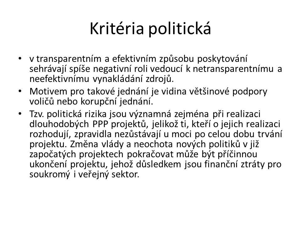 Kritéria politická v transparentním a efektivním způsobu poskytování sehrávají spíše negativní roli vedoucí k netransparentnímu a neefektivnímu vynakl