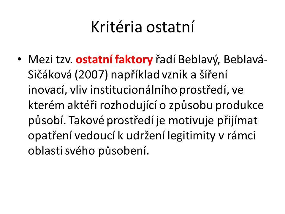 Kritéria ostatní Mezi tzv. ostatní faktory řadí Beblavý, Beblavá- Sičáková (2007) například vznik a šíření inovací, vliv institucionálního prostředí,