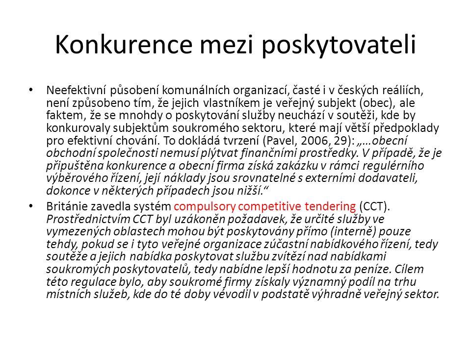 Konkurence mezi poskytovateli Neefektivní působení komunálních organizací, časté i v českých reáliích, není způsobeno tím, že jejich vlastníkem je veřejný subjekt (obec), ale faktem, že se mnohdy o poskytování služby neuchází v soutěži, kde by konkurovaly subjektům soukromého sektoru, které mají větší předpoklady pro efektivní chování.