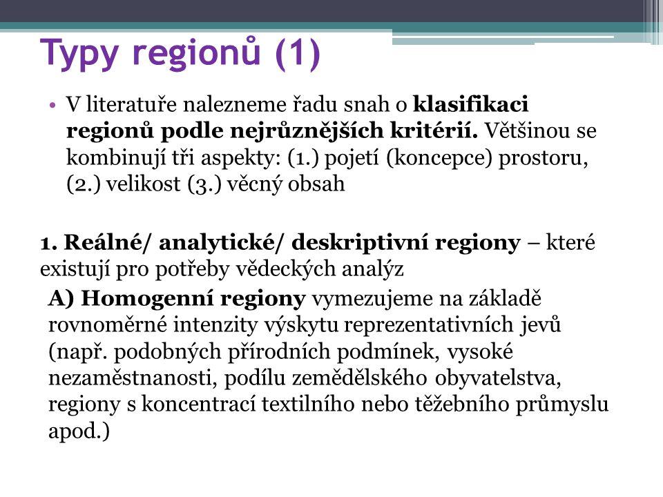 Typy regionů (1) V literatuře nalezneme řadu snah o klasifikaci regionů podle nejrůznějších kritérií.