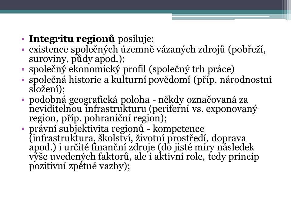 Integritu regionů posiluje: existence společných územně vázaných zdrojů (pobřeží, suroviny, půdy apod.); společný ekonomický profil (společný trh práce) společná historie a kulturní povědomí (příp.
