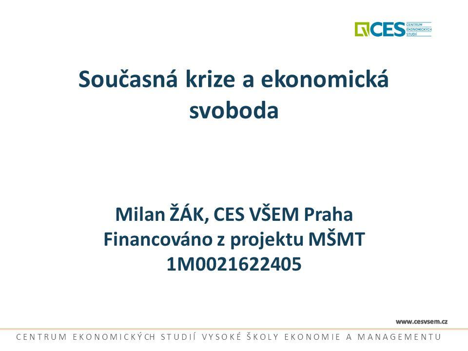 Současná krize a ekonomická svoboda Milan ŽÁK, CES VŠEM Praha Financováno z projektu MŠMT 1M0021622405 C E N T R U M E K O N O M I C K Ý CH S T U D I
