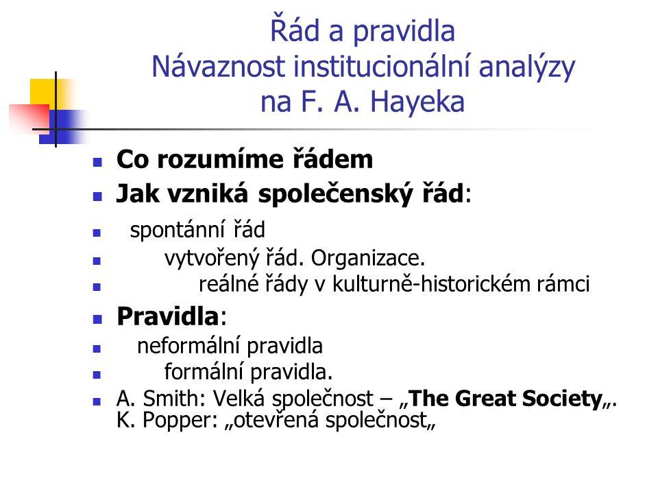 Řád a pravidla Návaznost institucionální analýzy na F. A. Hayeka Co rozumíme řádem Jak vzniká společenský řád: spontánní řád vytvořený řád. Organizace
