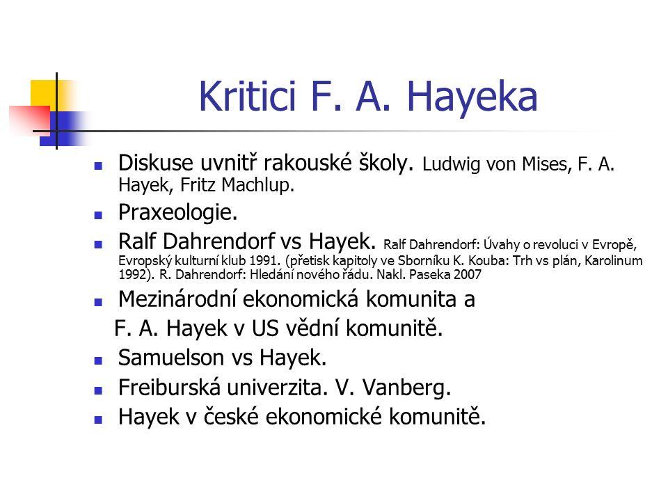 Kritici F. A. Hayeka Diskuse uvnitř rakouské školy. Ludwig von Mises, F. A. Hayek, Fritz Machlup. Praxeologie. Ralf Dahrendorf vs Hayek. Ralf Dahrendo