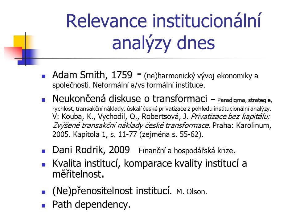 Relevance institucionální analýzy dnes Adam Smith, 1759 - (ne)harmonický vývoj ekonomiky a společnosti. Neformální a/vs formální instituce. Neukončená