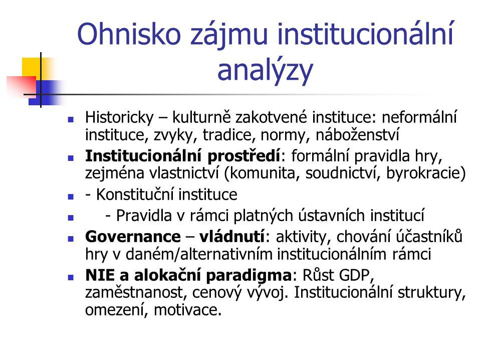 Ohnisko zájmu institucionální analýzy Historicky – kulturně zakotvené instituce: neformální instituce, zvyky, tradice, normy, náboženství Institucioná