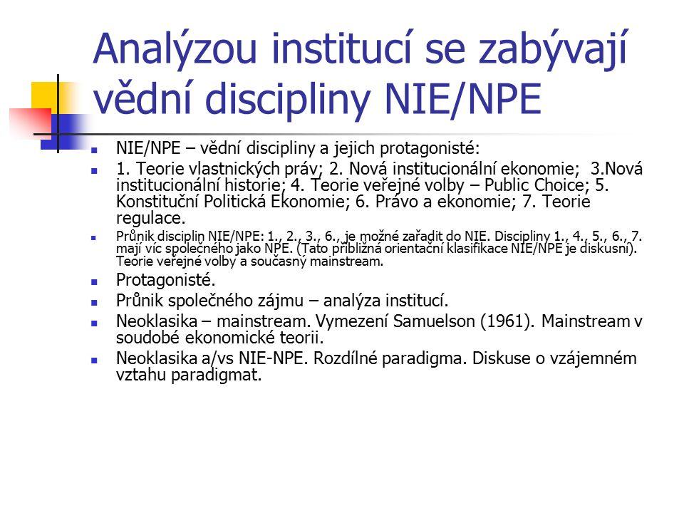 Analýzou institucí se zabývají vědní discipliny NIE/NPE NIE/NPE – vědní discipliny a jejich protagonisté: 1. Teorie vlastnických práv; 2. Nová institu