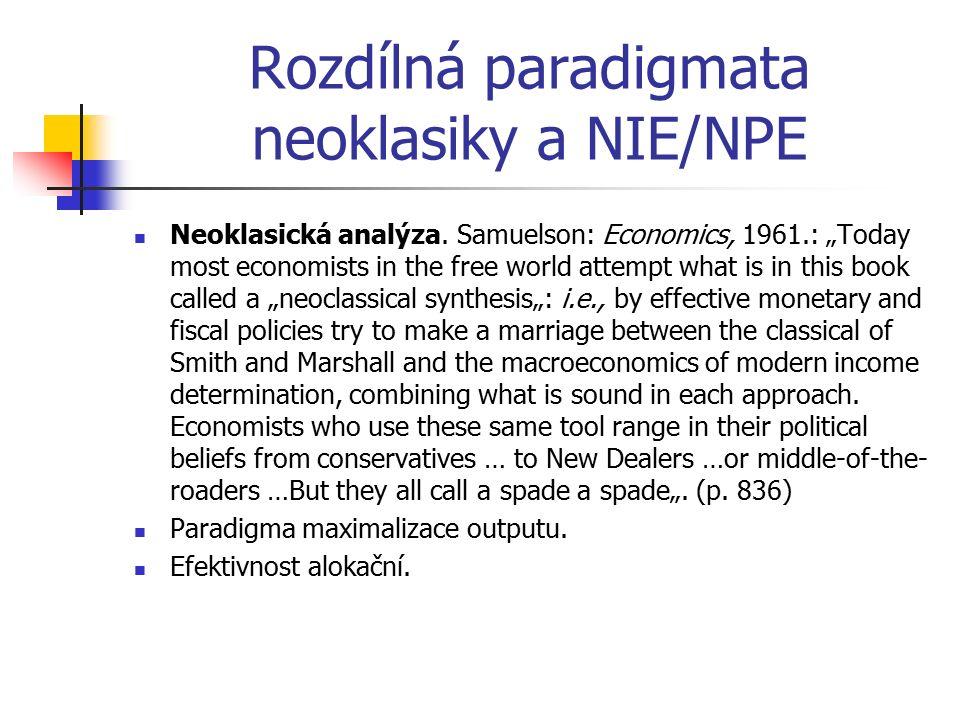 "Rozdílná paradigmata neoklasiky a NIE/NPE Neoklasická analýza. Samuelson: Economics, 1961.: ""Today most economists in the free world attempt what is i"