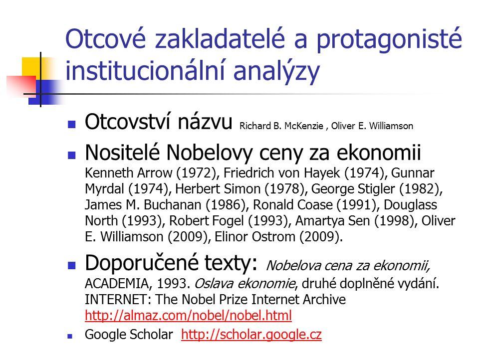 Otcové zakladatelé a protagonisté institucionální analýzy Otcovství názvu Richard B. McKenzie, Oliver E. Williamson Nositelé Nobelovy ceny za ekonomii