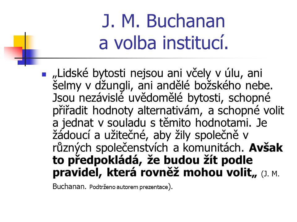 """J. M. Buchanan a volba institucí. """"Lidské bytosti nejsou ani včely v úlu, ani šelmy v džungli, ani andělé božského nebe. Jsou nezávislé uvědomělé byto"""