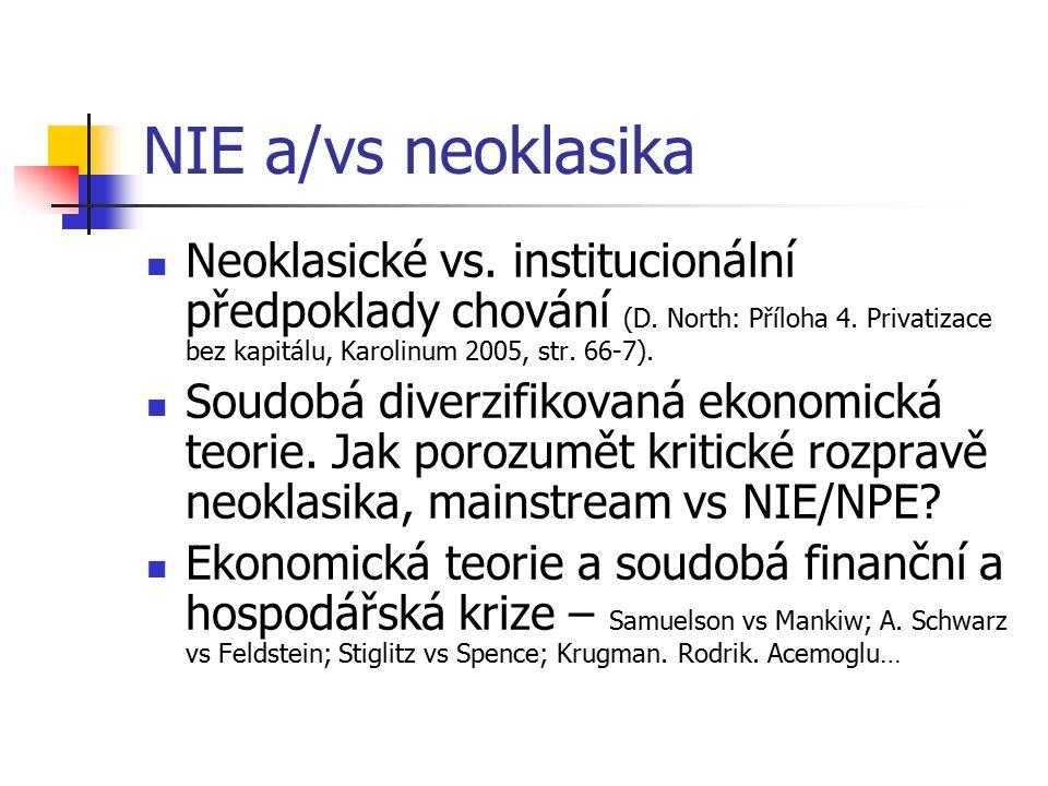 NIE a/vs neoklasika Neoklasické vs. institucionální předpoklady chování (D. North: Příloha 4. Privatizace bez kapitálu, Karolinum 2005, str. 66-7). So