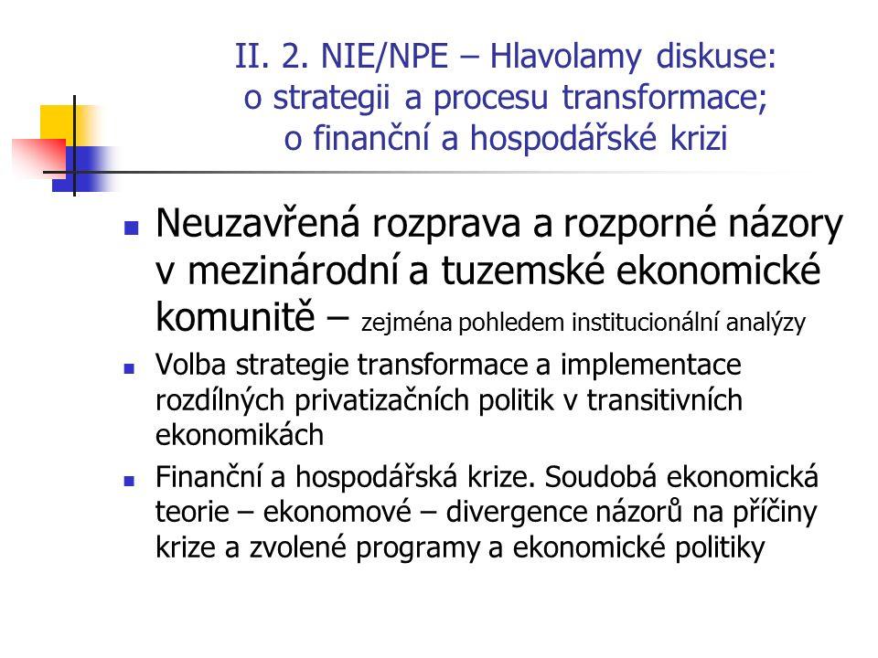 II. 2. NIE/NPE – Hlavolamy diskuse: o strategii a procesu transformace; o finanční a hospodářské krizi Neuzavřená rozprava a rozporné názory v mezinár