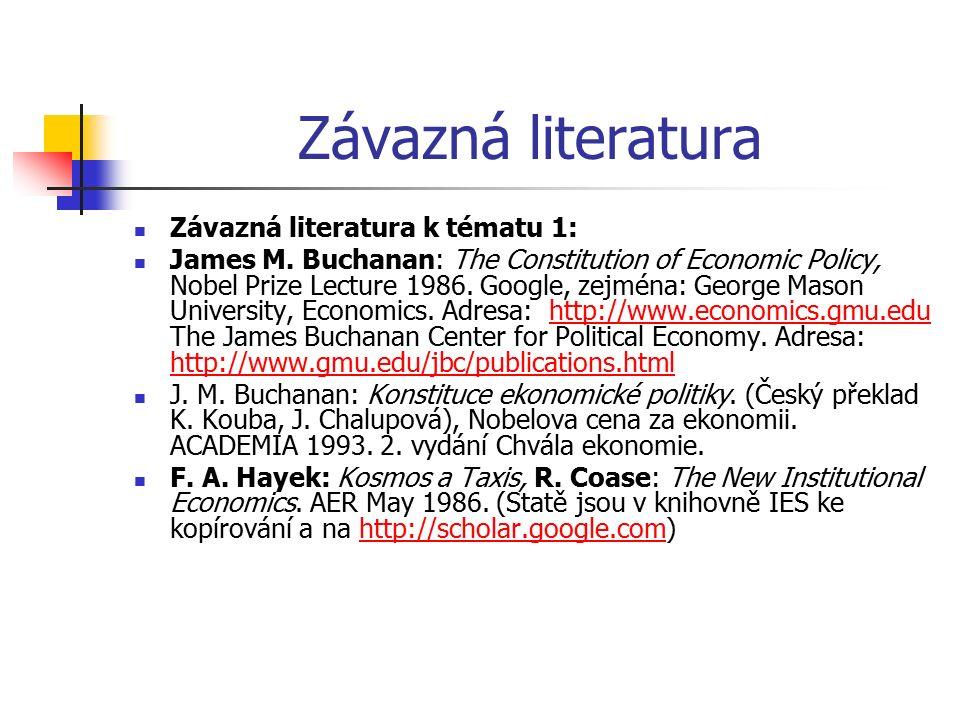 Závazná literatura Závazná literatura k tématu 1: James M. Buchanan: The Constitution of Economic Policy, Nobel Prize Lecture 1986. Google, zejména: G