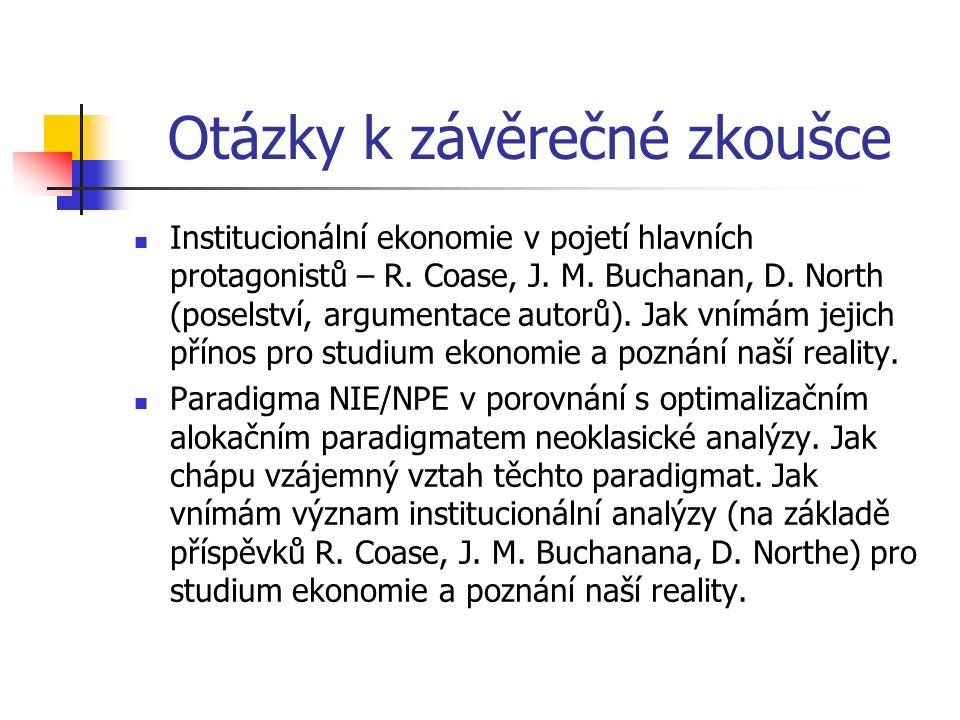 Otázky k závěrečné zkoušce Institucionální ekonomie v pojetí hlavních protagonistů – R. Coase, J. M. Buchanan, D. North (poselství, argumentace autorů