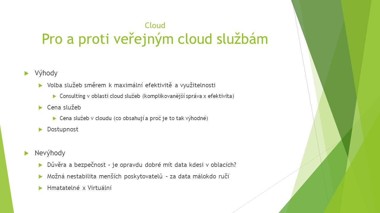 Cloud Pro a proti veřejným cloud službám  Výhody  Volba služeb směrem k maximální efektivitě a využitelnosti  Consulting v oblasti cloud služeb (komplikovanější správa x efektivita)  Cena služeb  Cena služeb v cloudu (co obsahují a proč je to tak výhodné)  Dostupnost  Nevýhody  Důvěra a bezpečnost – je opravdu dobré mít data kdesi v oblacích.