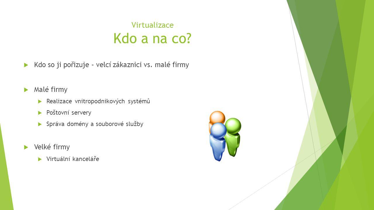 Virtualizace Kdo a na co.  Kdo so ji pořizuje – velcí zákaznici vs.