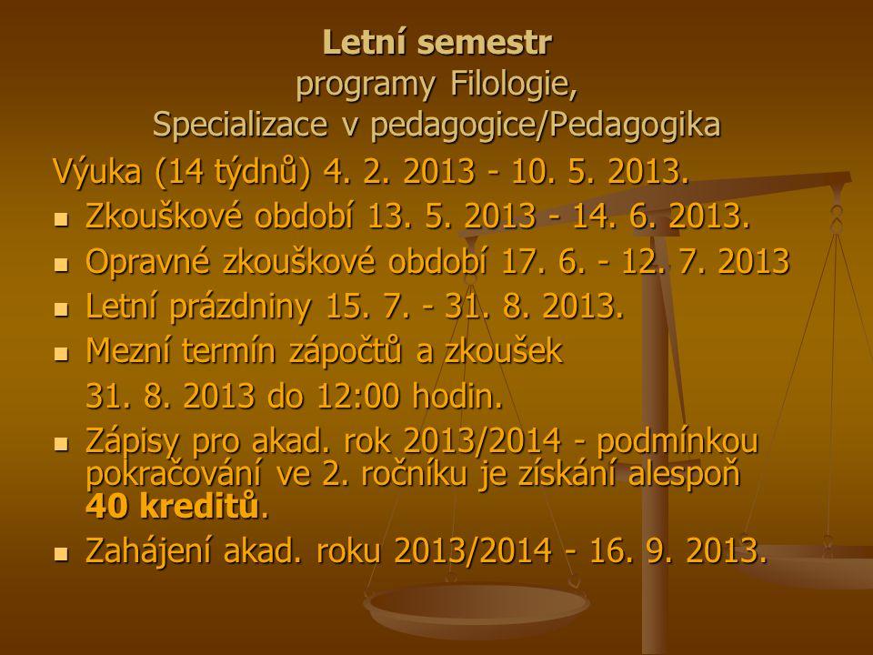 Letní semestr programy Ošetřovatelství, Porodní asistence a Zdravotně sociální péče Výuka (15 týdnů) 28.