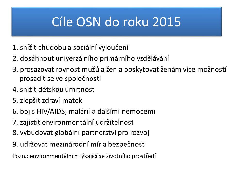 Cíle OSN do roku 2015 1. snížit chudobu a sociální vyloučení 2.