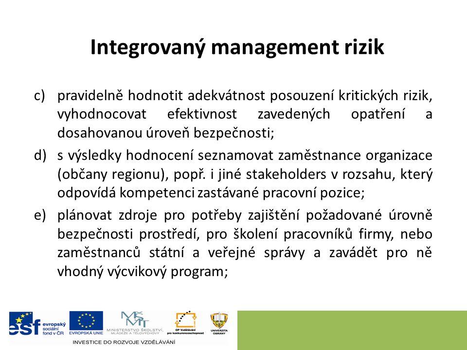 Integrovaný management rizik c)pravidelně hodnotit adekvátnost posouzení kritických rizik, vyhodnocovat efektivnost zavedených opatření a dosahovanou úroveň bezpečnosti; d)s výsledky hodnocení seznamovat zaměstnance organizace (občany regionu), popř.