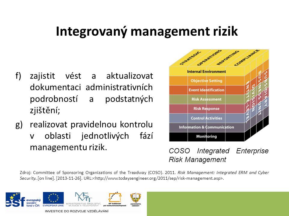 Integrovaný management rizik f)zajistit vést a aktualizovat dokumentaci administrativních podrobností a podstatných zjištění; g)realizovat pravidelnou kontrolu v oblasti jednotlivých fází managementu rizik.
