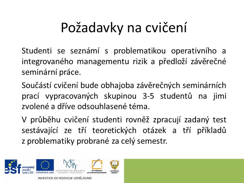 Studenti se seznámí s problematikou operativního a integrovaného managementu rizik a předloží závěrečné seminární práce.