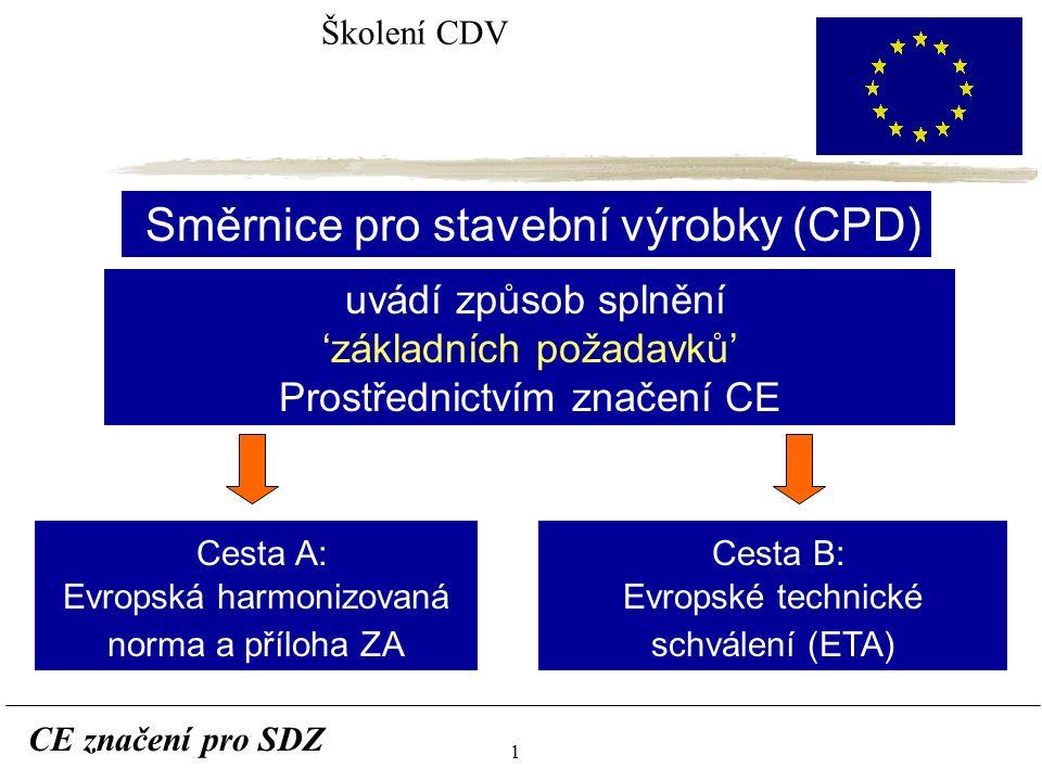 1 CE značení pro SDZ Školení CDV Směrnice pro stavební výrobky (CPD) uvádí způsob splnění 'základních požadavků' Prostřednictvím značení CE Cesta A: Evropská harmonizovaná norma a příloha ZA Cesta B: Evropské technické schválení (ETA)