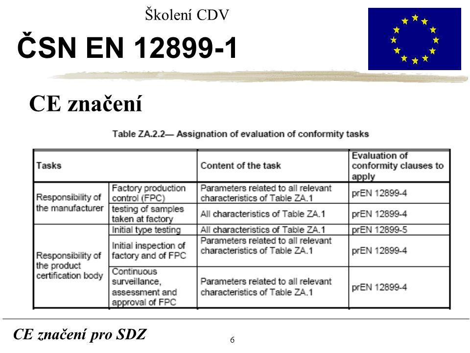 6 CE značení pro SDZ Školení CDV ČSN EN 12899-1 CE značení