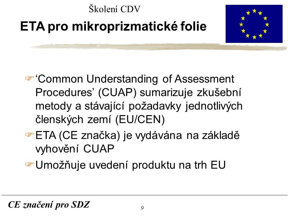 9 CE značení pro SDZ Školení CDV ETA pro mikroprizmatické folie F'Common Understanding of Assessment Procedures' (CUAP) sumarizuje zkušební metody a stávající požadavky jednotlivých členských zemí (EU/CEN) FETA (CE značka) je vydávána na základě vyhovění CUAP FUmožňuje uvedení produktu na trh EU