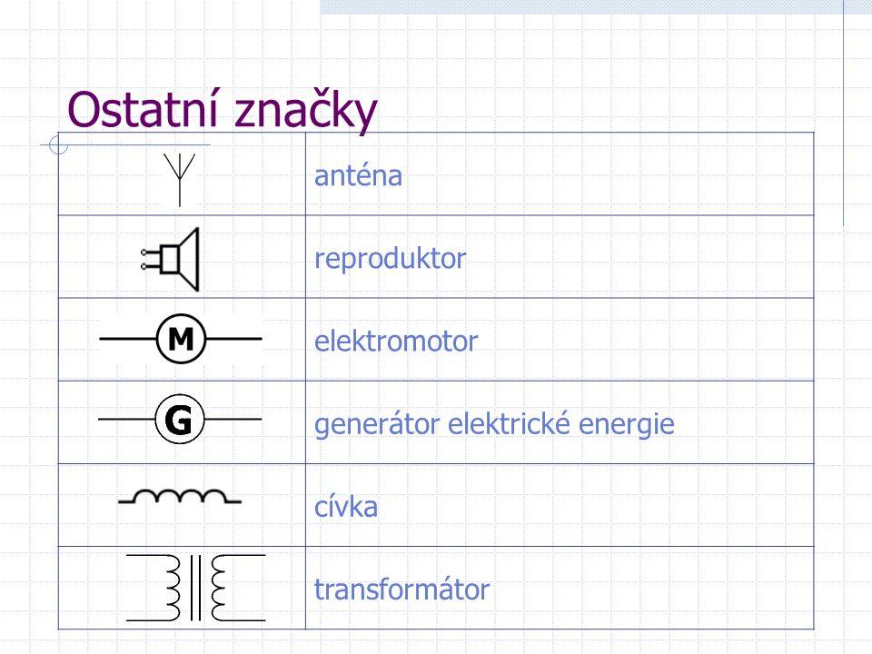 Ostatní značky anténa reproduktor elektromotor generátor elektrické energie cívka transformátor