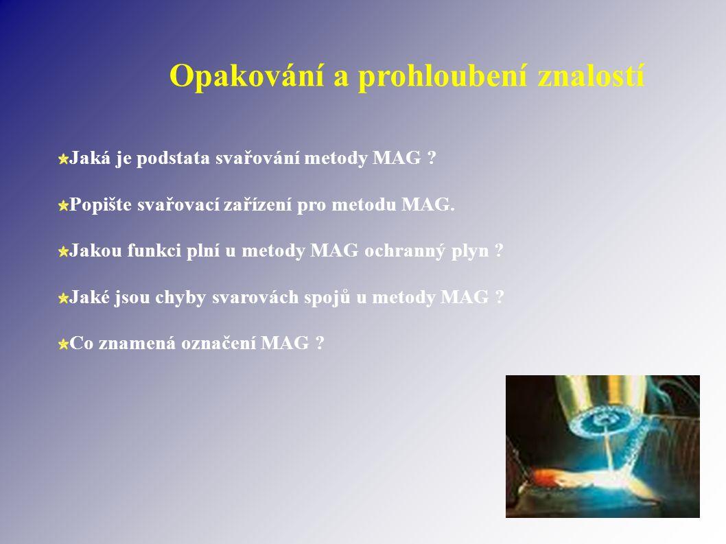 Opakování a prohloubení znalostí Jaká je podstata svařování metody MAG .