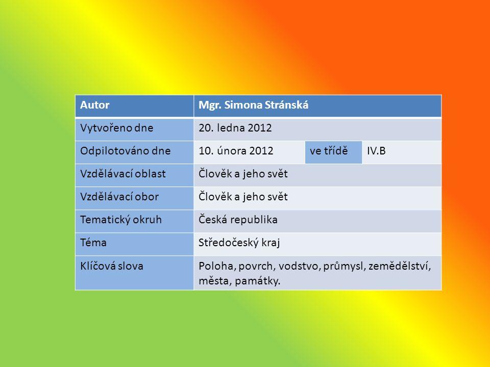 AutorMgr. Simona Stránská Vytvořeno dne20. ledna 2012 Odpilotováno dne10.