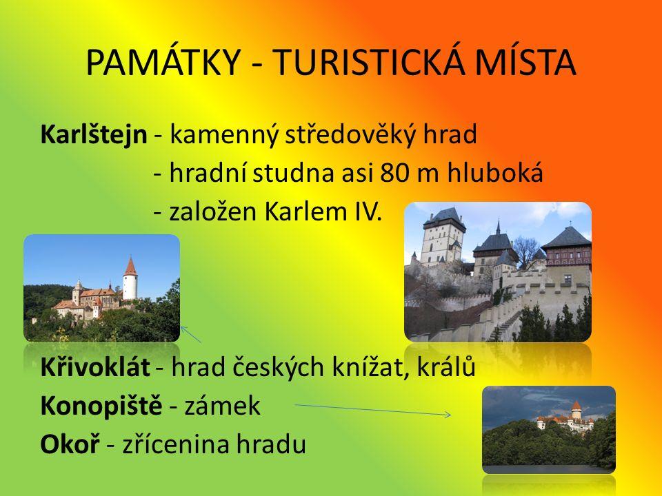 PAMÁTKY - TURISTICKÁ MÍSTA Kost - hrad Koněpruské jeskyně - nejdelší jeskynní systém v Čechách - leží v Českém krasu Lidice - obec v roce 1942 vyhlazena německými nacisty - památník obětem Kutná Hora - Chrám sv.