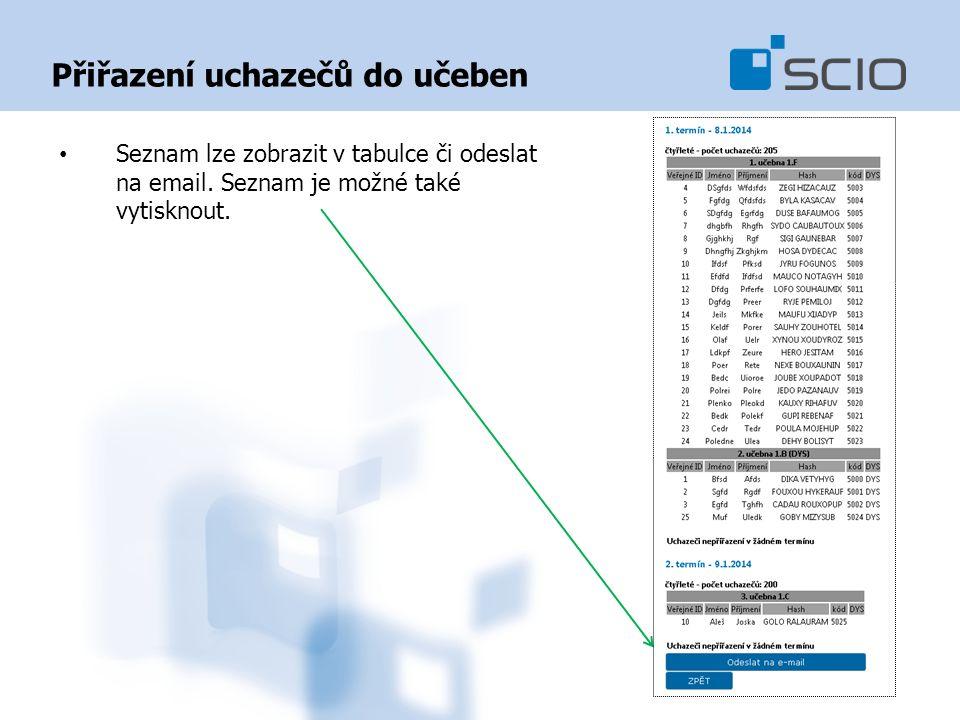 Přiřazení uchazečů do učeben Seznam lze zobrazit v tabulce či odeslat na email.