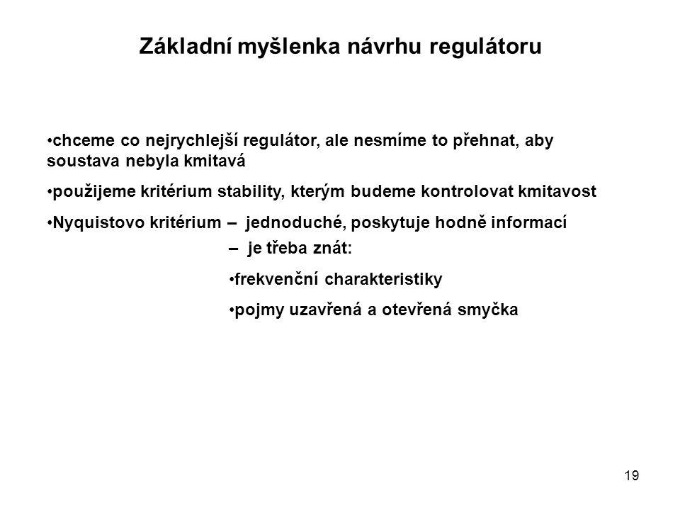 Základní myšlenka návrhu regulátoru chceme co nejrychlejší regulátor, ale nesmíme to přehnat, aby soustava nebyla kmitavá použijeme kritérium stabilit