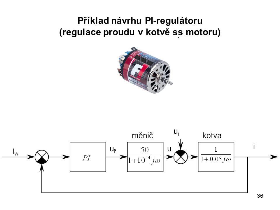 Příklad návrhu PI-regulátoru (regulace proudu v kotvě ss motoru) měnič iwiw kotva i uuřuř uiui 36