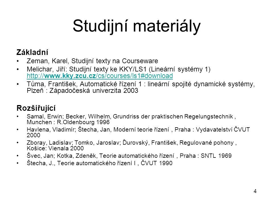 Studijní materiály Základní Zeman, Karel, Studijní texty na Courseware Melichar, Jiří: Studijní texty ke KKY/LS1 (Lineární systémy 1) http://www.kky.z