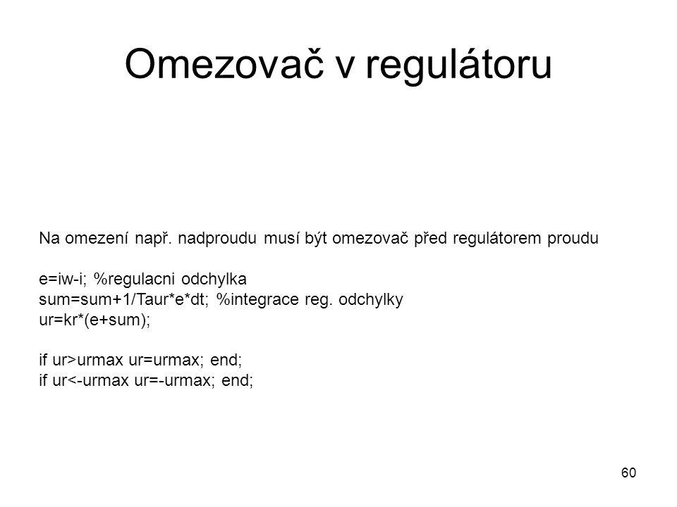 Omezovač v regulátoru Na omezení např. nadproudu musí být omezovač před regulátorem proudu e=iw-i; %regulacni odchylka sum=sum+1/Taur*e*dt; %integrace