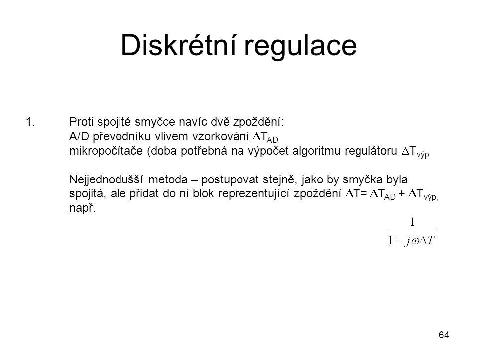 Diskrétní regulace 1.Proti spojité smyčce navíc dvě zpoždění: A/D převodníku vlivem vzorkování  T AD mikropočítače (doba potřebná na výpočet algoritm