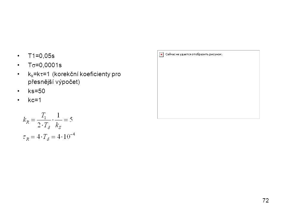 T1=0,05s T  =0,0001s k k =k  =1 (korekční koeficienty pro přesnější výpočet) ks=50 kc=1 72