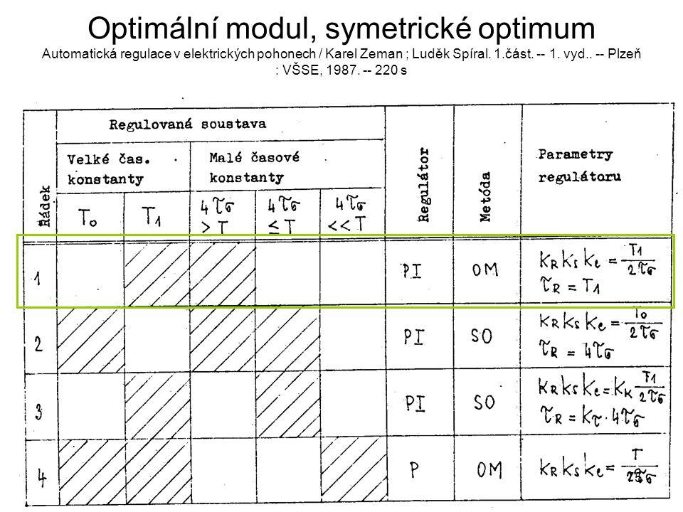 Optimální modul, symetrické optimum Automatická regulace v elektrických pohonech / Karel Zeman ; Luděk Spíral. 1.část. -- 1. vyd.. -- Plzeň : VŠSE, 19