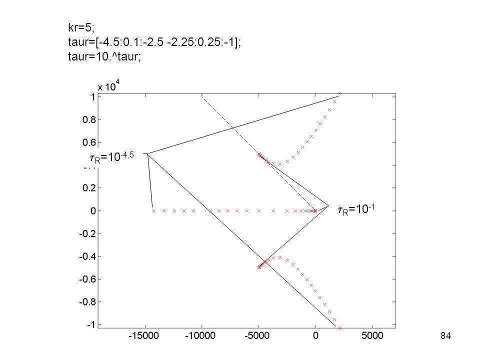  R =10 -4,5  R =10 -1 kr=5; taur=[-4.5:0.1:-2.5 -2.25:0.25:-1]; taur=10.^taur; 84