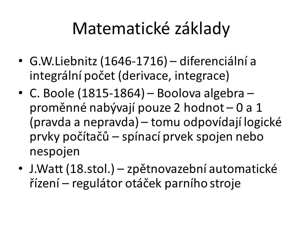 Matematické základy G.W.Liebnitz (1646-1716) – diferenciální a integrální počet (derivace, integrace) C.