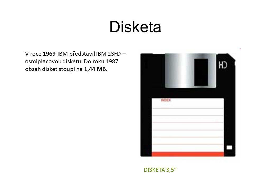 Disketa V roce 1969 IBM představil IBM 23FD – osmiplacovou disketu.