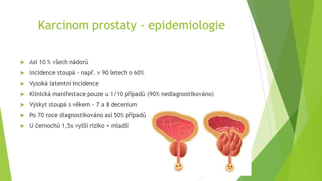 Karcinom prostaty - epidemiologie  Asi 10 % všech nádorů  Incidence stoupá – např.