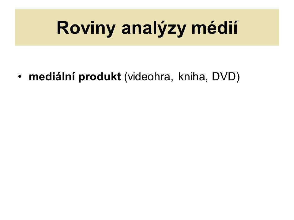 Roviny analýzy médií mediální produkt (videohra, kniha, DVD)