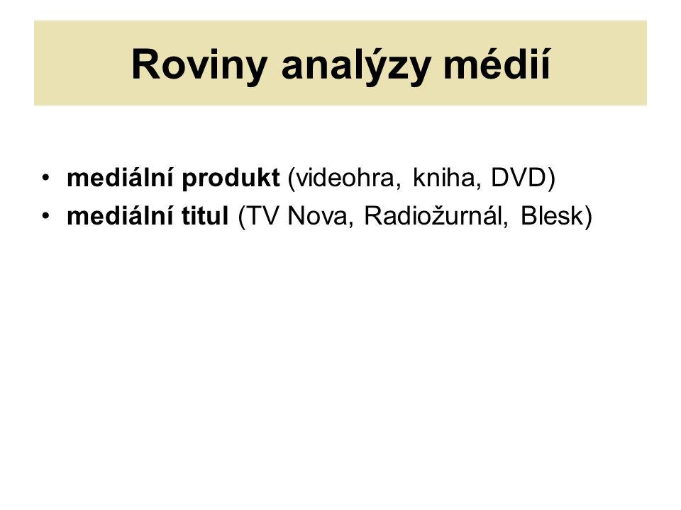 Roviny analýzy médií mediální produkt (videohra, kniha, DVD) mediální titul (TV Nova, Radiožurnál, Blesk)