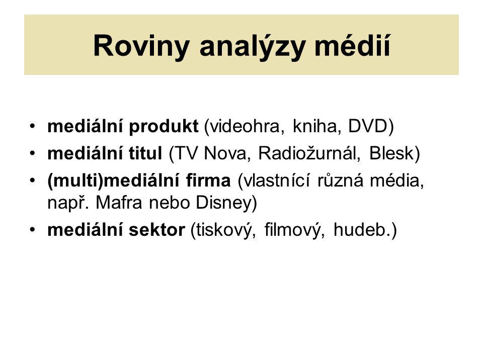 Roviny analýzy médií mediální produkt (videohra, kniha, DVD) mediální titul (TV Nova, Radiožurnál, Blesk) (multi)mediální firma (vlastnící různá média, např.